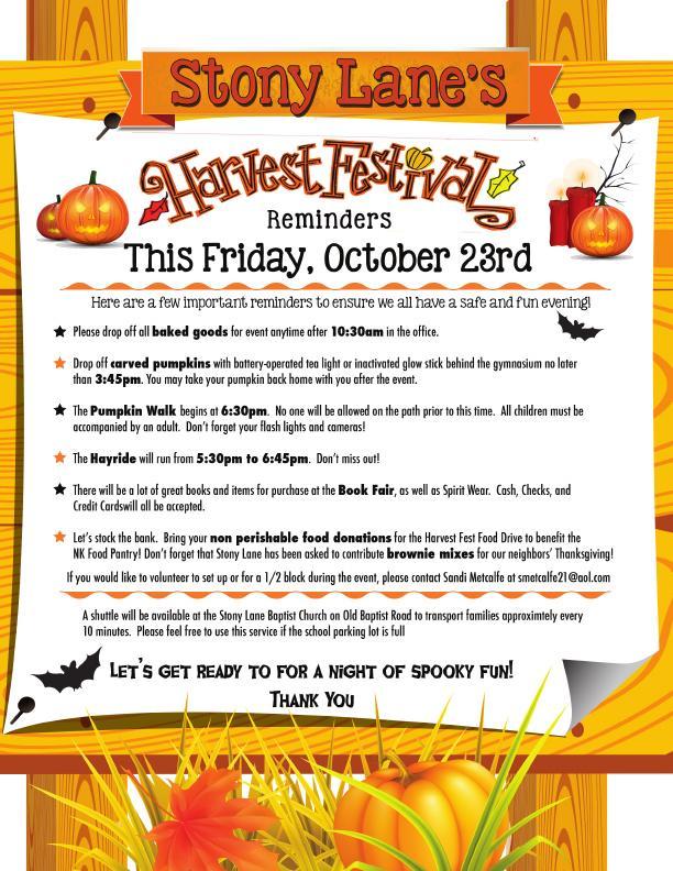 Harvest Fest Reminders